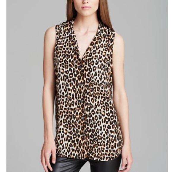 21f1ed6958dd93 Equipment • Leopard Print Kiara Sleeveless Blouse